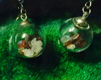 Amber Sea Glass Globe Earrings