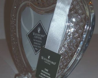 Waterford Lead Crystal Wedding Heirloom Heart Shaped 2 x 3 Photo Frame - NEW, Marked