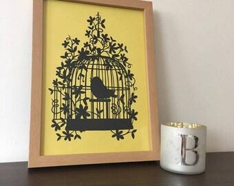 Birdcage Papercut Unframed Wedding Gift