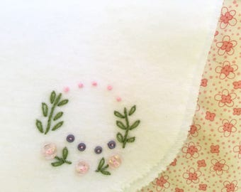 Sweet Baby Hand Embroidery Vintage Wreath Pattern Burp Cloth