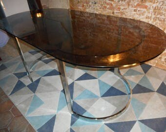 Large table smoked glass and chrome by Roche Bobois 1973