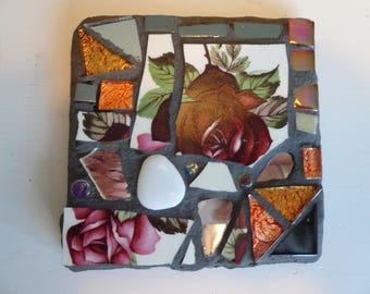 Mosaic square slate coaster.