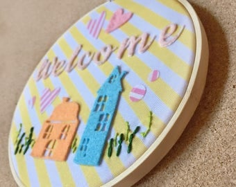 Handmade Retro style Welcome Embroidery Hoop 6 inches