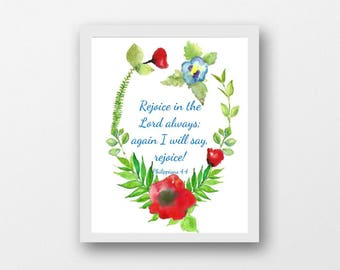 Rejoice in the Lord Always, Philippians 4:4, digital scriptures, Bible quote, watercolor wreath, scripture art print, Christian print, PDF