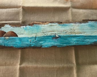 Hand painted weathered wood wall art