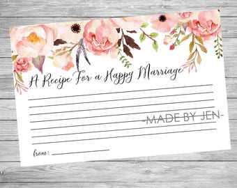 Recipe For a Happy Marriage, Bridal Shower, Floral, Wedding,  DIGITAL FILE