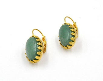 Earrings hanging earrings, turquoise, turquoise cabochon, gemstone earrings, vintage earrings, yellow gold, hangemachter, earrings turquoise oval
