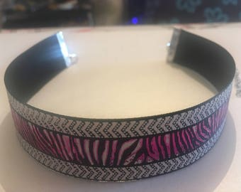 Metallic Multicoloured Zebra Print Choker