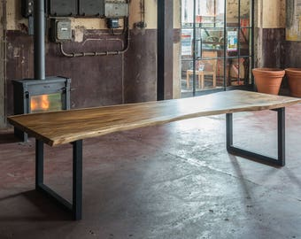 Live Edge Solid Suar Wood Slab Wooden Dining Table Stainless Steel Frame