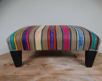 Footstool / footstool covered in old kilim