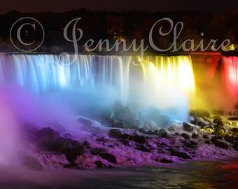 Niagara falls lit up digital download. Niagara falls at night. Canadian scenery . waterfall photo