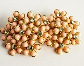 Large Vintage Pink and Rhinestone Floral Cluster Earrings