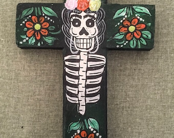 Dia De Los Muertos Hand Painted Cross Wall decoration