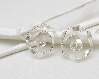 TWisT - matte silver earstuds, big
