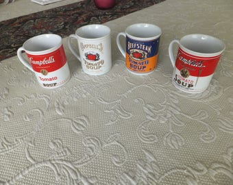 Set of 4 - 125th Anniversary Campbell Soup Mugs Cups