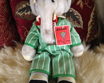 Babar the Elephant Plush Doll~~Vintage With Original Tags