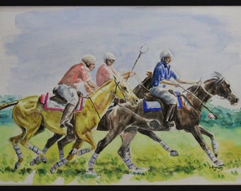Polocrosse #1 Original watercolour & ink painting, framed under glass.