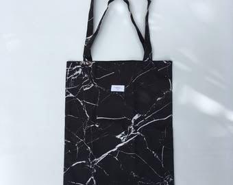 Black Marble Print Tote