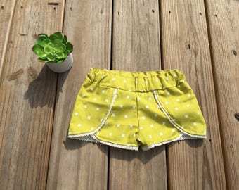 Chartreuse Lace Trimmed Scallop Shorts
