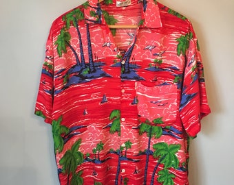 Men's Vintage Button-up Red Hawaiian Shirt 80s 90s
