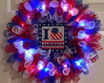 Lighted Red White & Blue Wreath with Sign