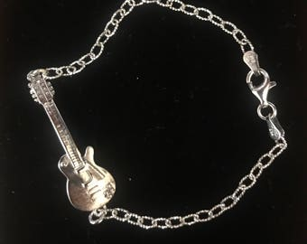 Sterling silver Les paul guitar bracelet.