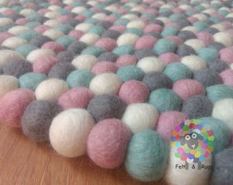 Felt Ball Rugs /Baby Pink, Blue grey and White pom pom Wool Carpet (Free Shipping)