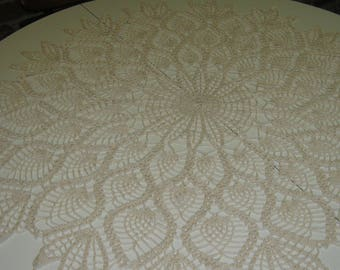 Hand Crocheted Table Topper Pineapple Pattern Natural Ecru