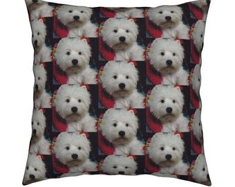SALE !! Unique West Highland White Terrier / Westie Cushion, Linen Cotton Canvas. Eco Friendly Print, Hypoallergenic, Machine Washable