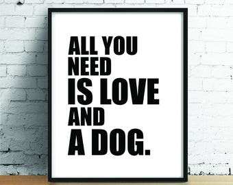 Dog Poster // Printable Art // Wall Art // Art Print // Home Decor // Instant Download // Wall Hanging // Inspirational Print
