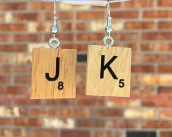 Scrabble Tile Earrings, JK