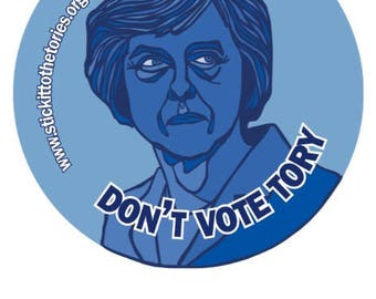 36x88mm Stickers - MAY Don't vote Tory