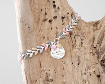 SALE boho chic Bracelet multicolor spike silver chain in pastels (Pink/Green/beige/purple/white) (BREP14)