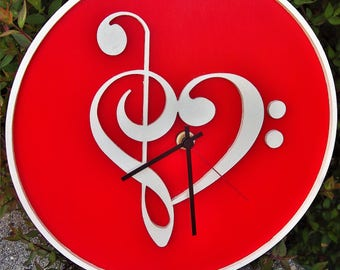 """Hand painted wooden clock """"music"""""""