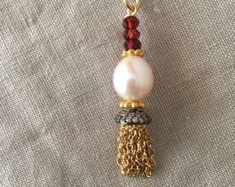 Garnet, Freshwater Pearl and Gold Tassel Pendant Necklace