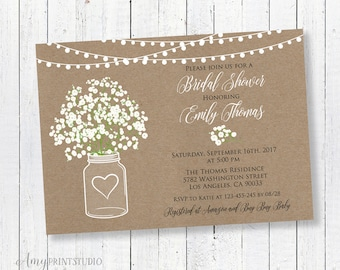 Bridal Shower Invitation, Rustic Bridal Shower Invitations, Baby's Breath Invitation, PERSONALIZED, Digital file, #D01