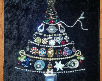 Handmade jewelry art Christmas tree vintage-modern jewelry rhinestones, crystals, sparkle one-of-a-kind gift