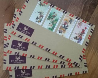 China'The Four Seasons'MNH and Limited lssued Stamps Set with Vintage Airmail Envelope