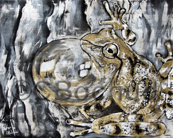 Spring Peepers, paint, ink and gouache gold, original, painting, animal, nature