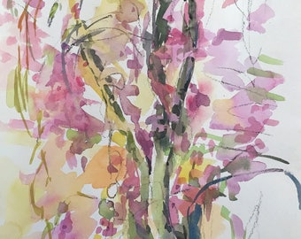 Weeping Cherry Tree, watercolor, pink blossoms