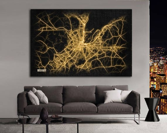 BELFAST Northern Ireland Night Lights Map Large Horizontal