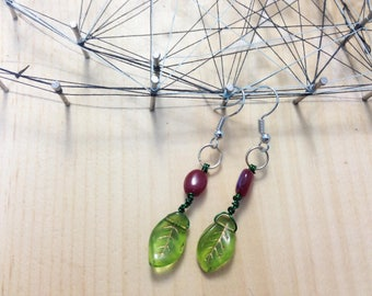Handmade glass bead and wire work earrings