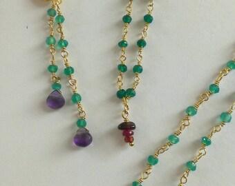 Bracelet onyx, Garnet and tourmaline gold plated