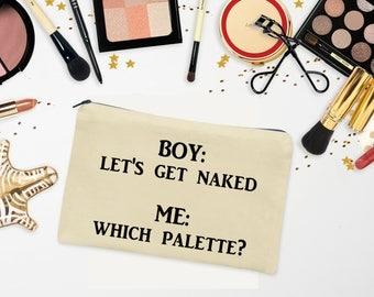 Makeup Zipper Bag - Cosmetics Bag - Large Canvas Zipper Pouch - Bridesmaid Makeup Bag Gift - Zipper Coin Purse - Beauty Bag - Toiletry Bag