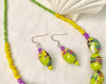 Polymer Clay Lime Green Beaded Necklace/Earring Set