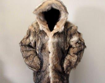 Men's jacket  wolf fur, new, size XL-2XL