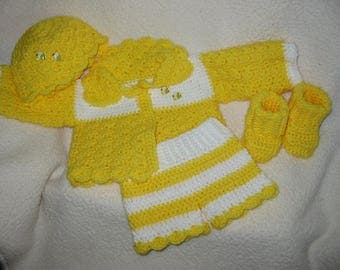 Bumble Bee bright yellow/ Layette set/Hat,Sweater, Booties,diaper cover