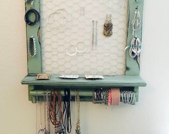 Wall Hanging Jewelry Organizer - Jewelry Hanger - Handmade Wooden Jewelry Shelf