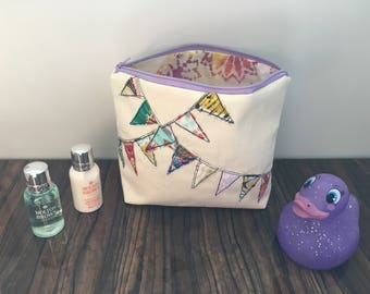 Bunting Cosmetic Bag, Toiletry Bag, Make up Bag