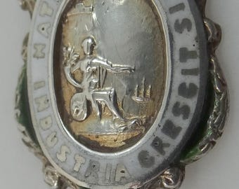 Sterling & Enamel London Souvenir Spoon Natura Fortis Industria Crescit (Strong nature prospers by work)